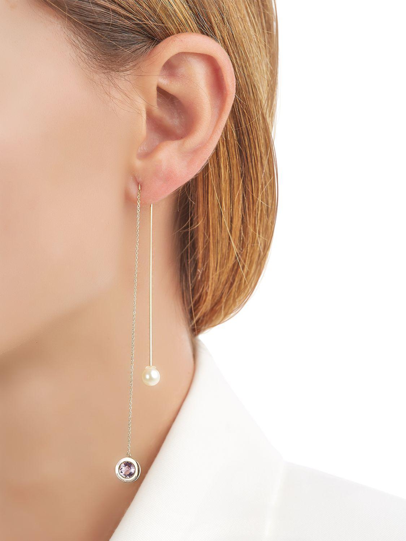 Delfina Delettrez Fishing For Compliments Seal Earring in Amethyst (Metallic)
