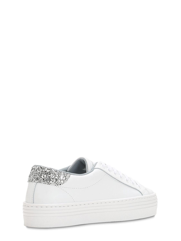 Chiara Ferragni 40mm Leather Platform Sneakers in White