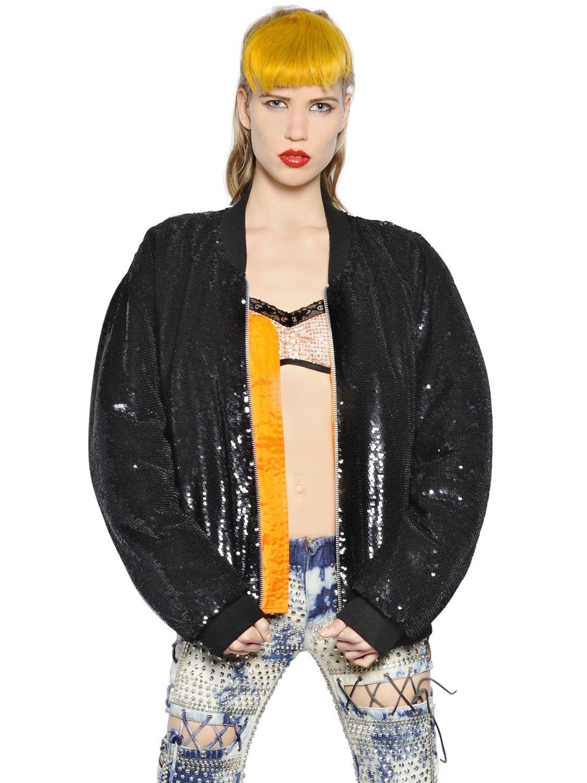 8a0fcc93 Ashish Sequin Embellished Denim Jacket in Black - Lyst