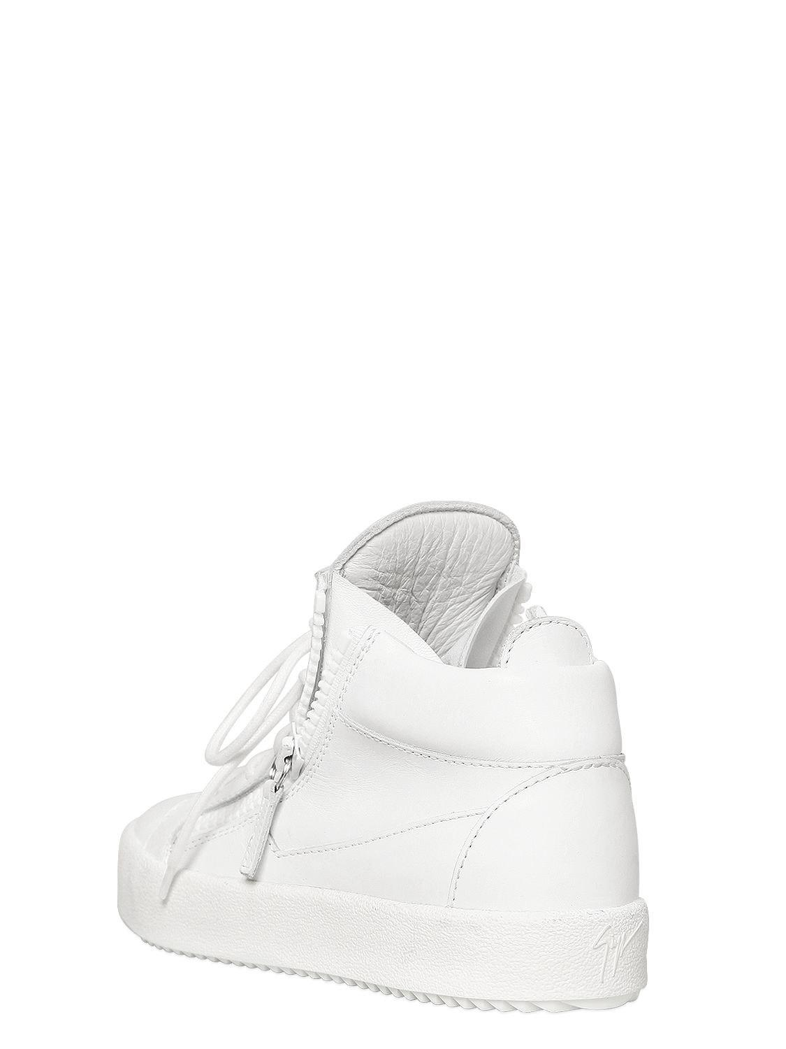 Giuseppe Zanotti 20mm Leather Mid Top Sneakers in White