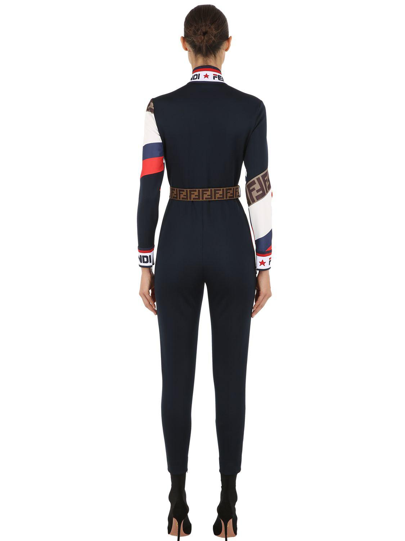 1658e6045ee0 Lyst - Fendi Mania Logo Piqué Jersey Jumpsuit