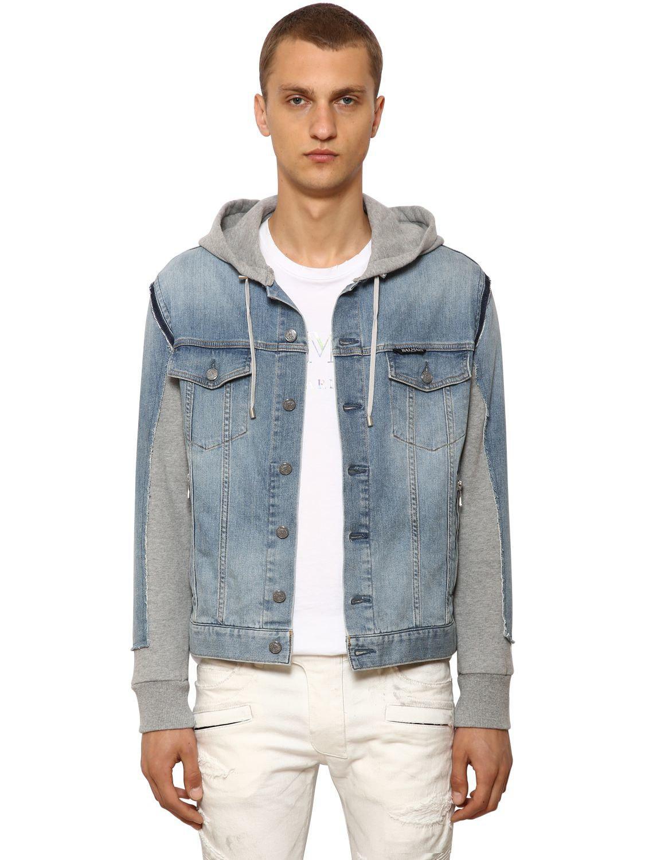 c6eb6830 Lyst - Balmain Hooded Cotton Denim & Jersey Jacket in Blue for Men ...