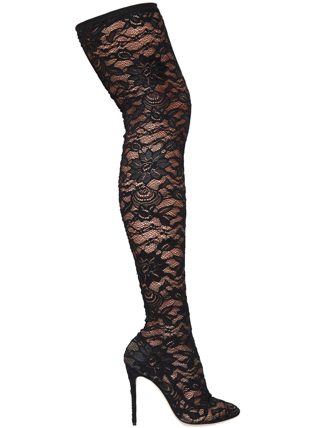 Lace The Gabbana Knee Black in Over 105mm Stretch amp; Boots Lyst Dolce xwXaqR0Zq