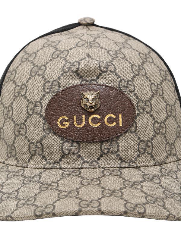 Gucci Leather Coated Original Gg Tiger Trucker Hat For Men