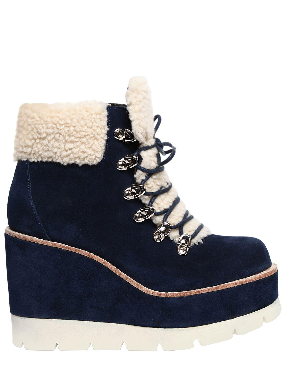 Jeffrey Campbell 80MM FOWLER SUEDE & FAUX SHEARLING BOOTS bM0nZS9w