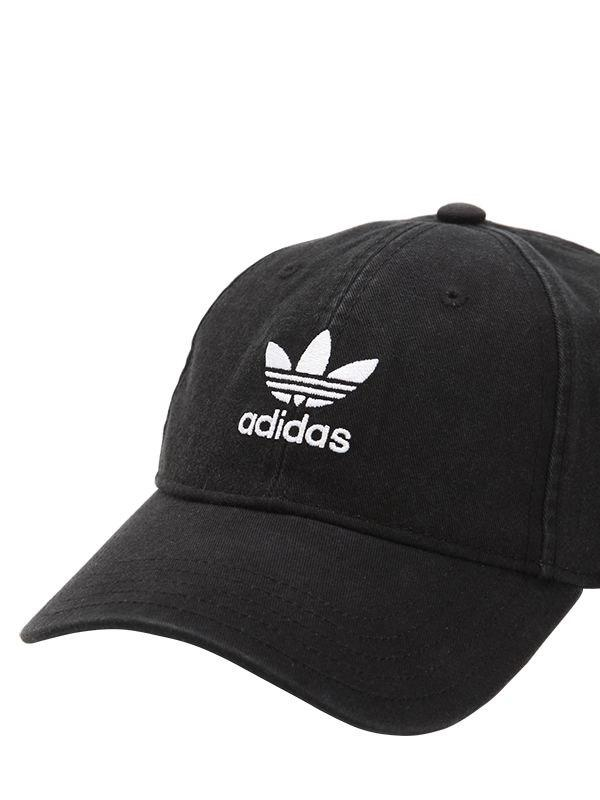 Lyst - adidas Originals Adicolor Washed Cotton Baseball Hat in Black 455043411dd