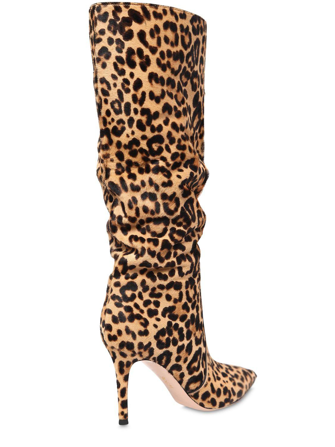 Gianvito Rossi Leather 85mm Leopard Ponyskin Slouchy Boots in Brown