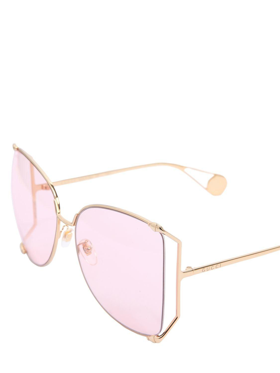 fde161eb069a Gucci Oversize Butterfly Wire Frame Sunglasses in Metallic - Lyst