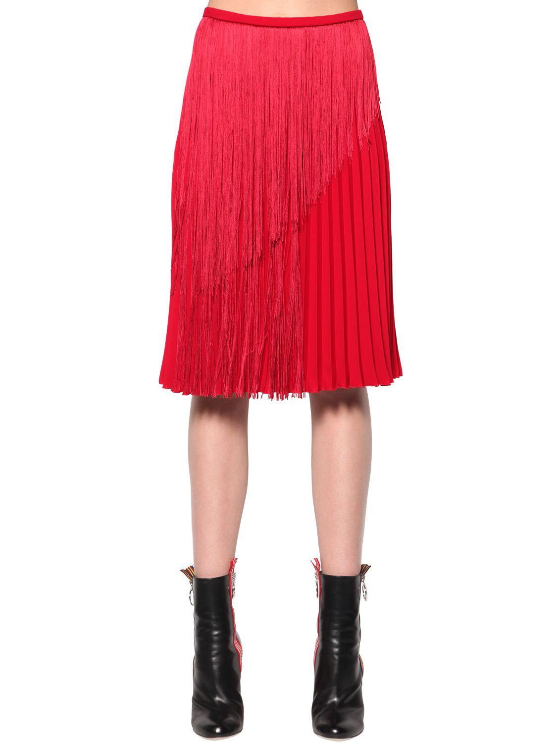 fa4f312e84 Marco De Vincenzo Fringed Pleated Cady Midi Skirt in Red - Lyst