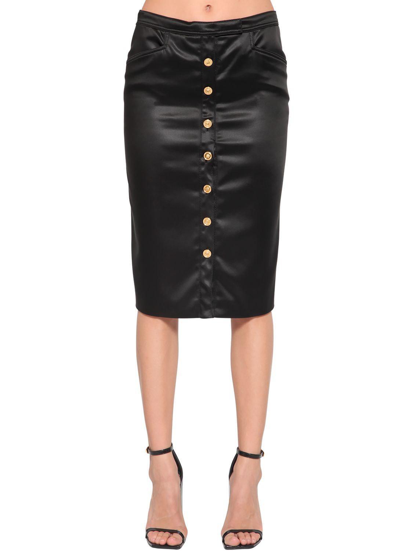 b459967548 Black Stretch Satin Pencil Skirt - Image Skirt and Slipper Imagepv.co
