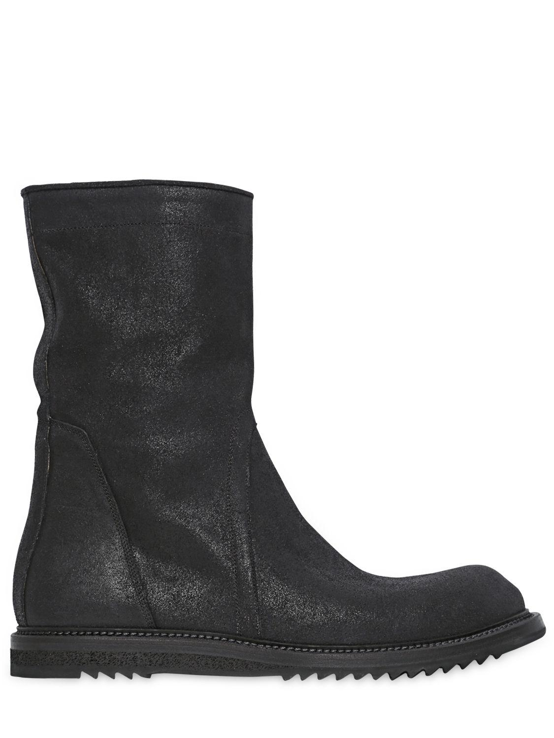 Rick Owens ZIPPED CRUST LEATHER BOOTS T9YuQGKXW