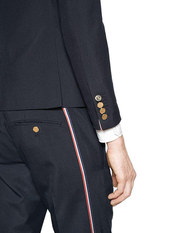 Thom Browne Wool Blend Crepe Jacket W/ Selvedge in Navy (Blue) for Men