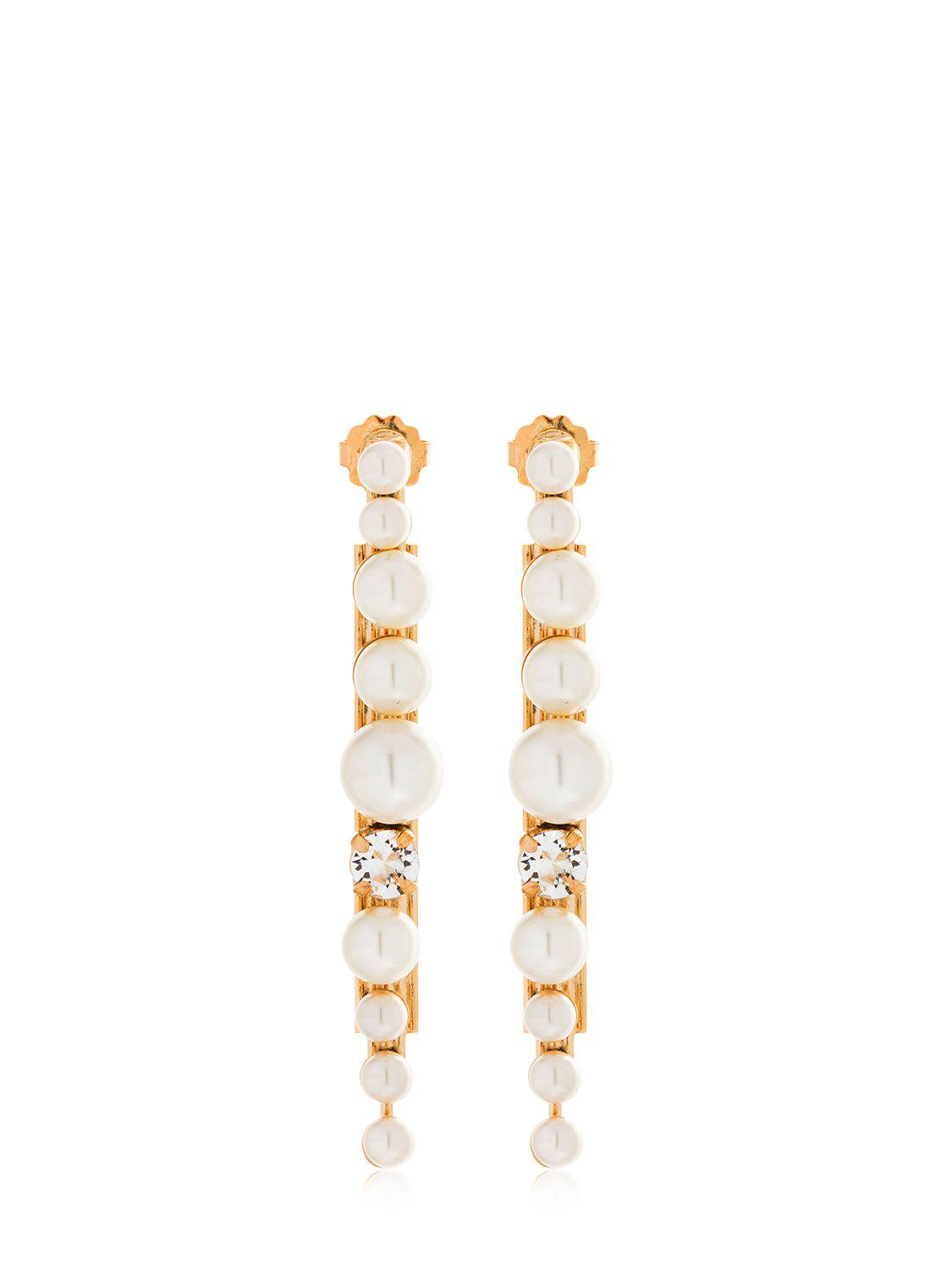 gold plated brass stud and pearl tube earring Anton Heunis v8yYpj