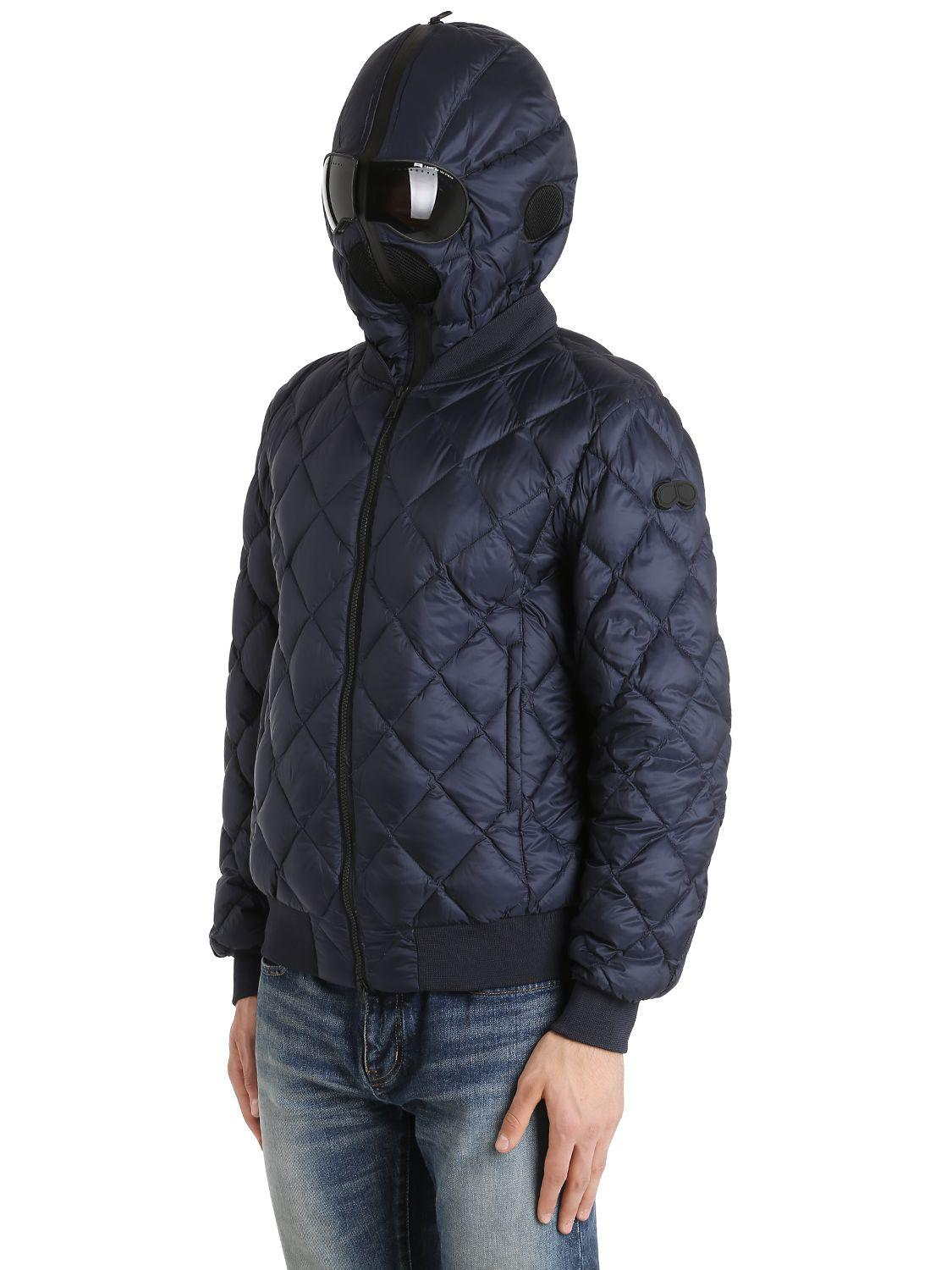 Ai Riders On The Storm Quilted Micro Ripstop Down Bomber Jacket in Navy (Blue) for Men