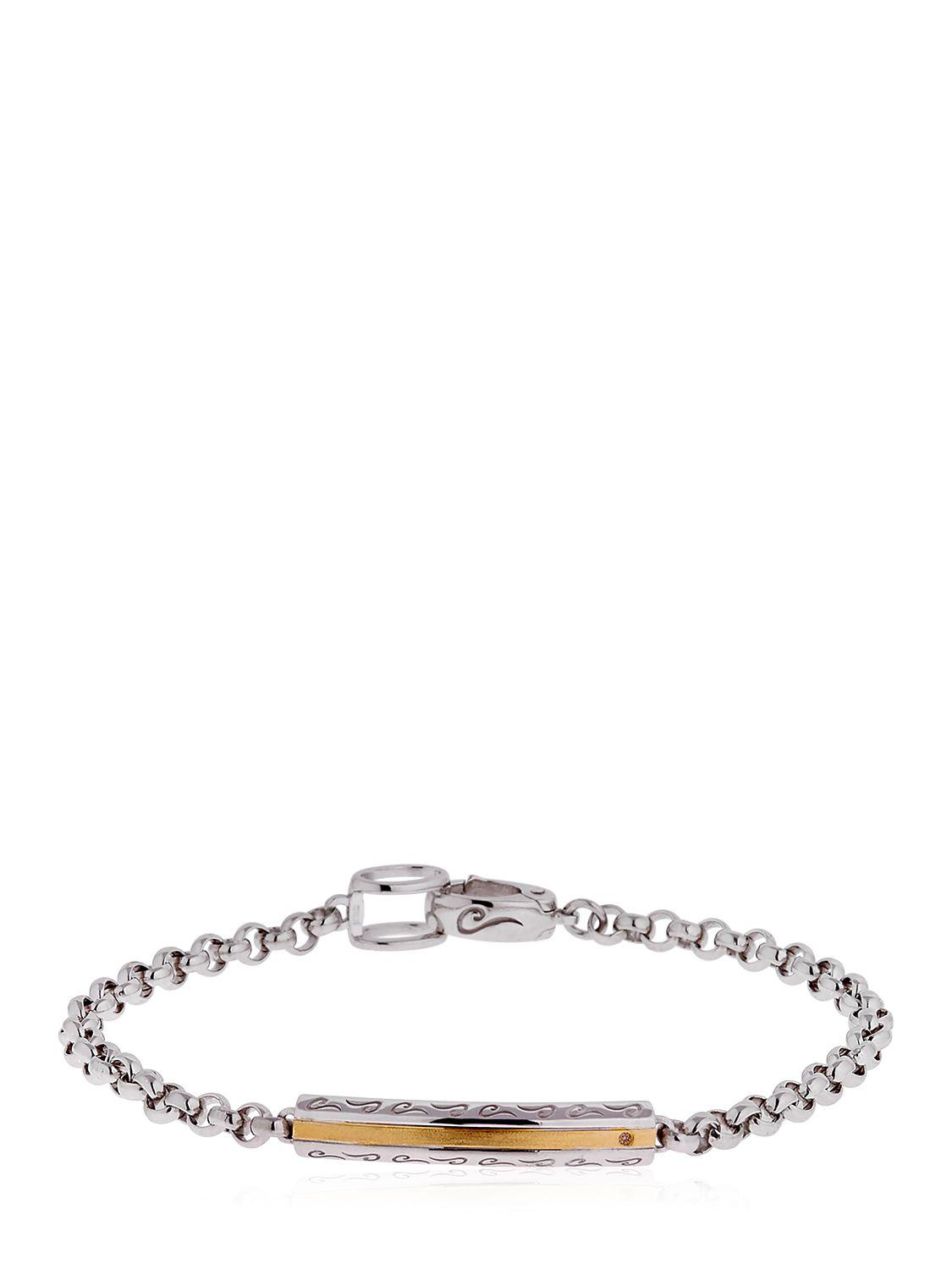 Marco Dal Maso Ara Oxidized Sterling Silver Bracelet with Champagne Diamond