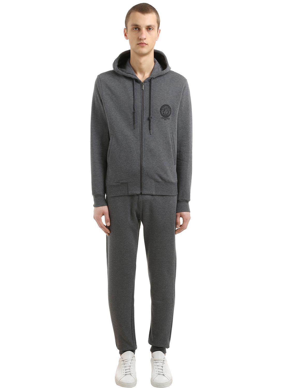 Versace Hooded Medusa Embroidered Sweatshirt in Grey (Grey) for Men