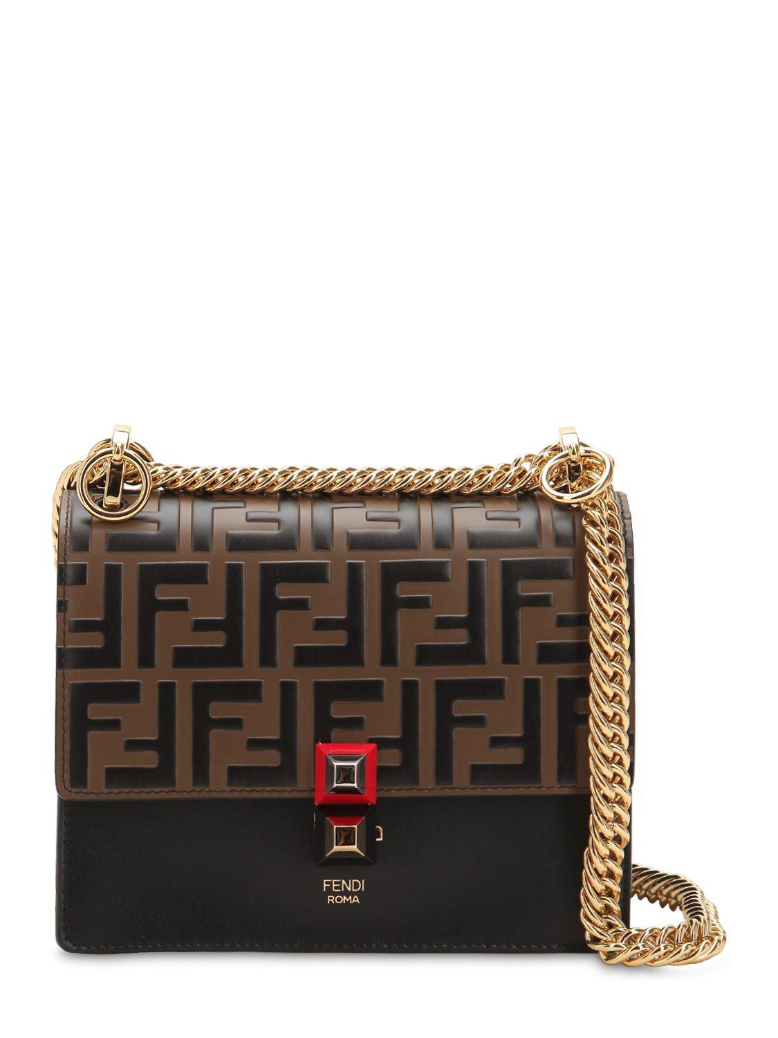 33610990c4a8 Fendi Small Kan I Logo Embossed Leather Bag in Brown - Lyst