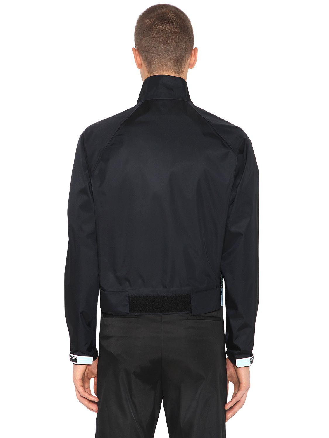 Prada Synthetic Nylon Gabardine Bomber Jacket in Black for Men