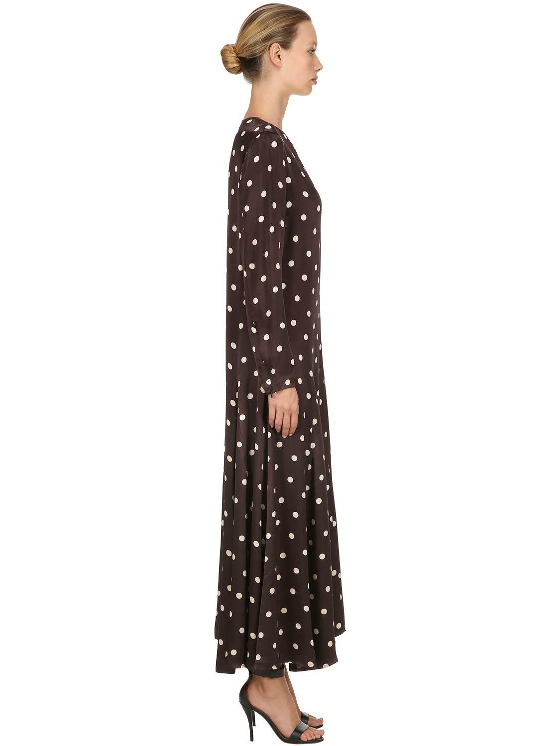 848f4cb9 Ganni - Brown Cameron Polka Dots Satin Viscose Dress - Lyst. View fullscreen