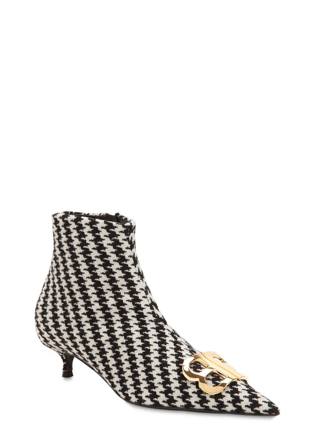 Balenciaga 40MM BB HOUNDSTOOTH ANKLE BOOTS QcyjV