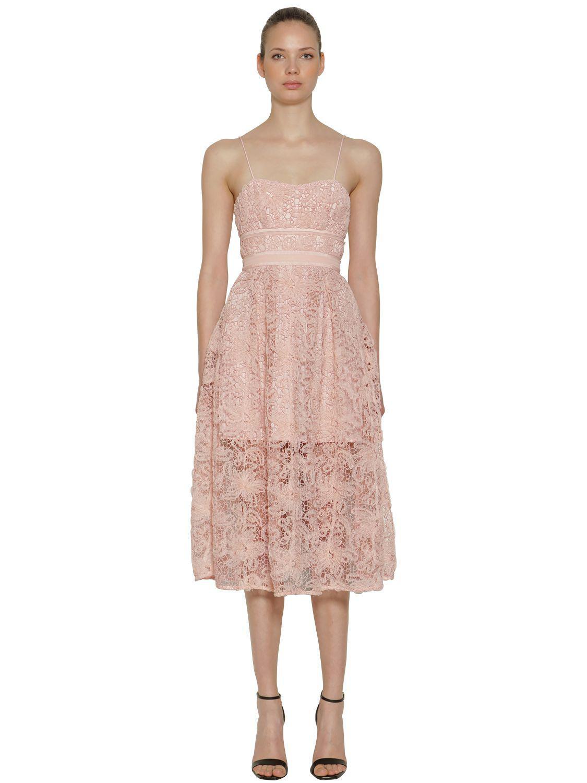 6f93f8aa3b0e7 Lyst - Self-Portrait Floral Lace Midi Dress in Pink