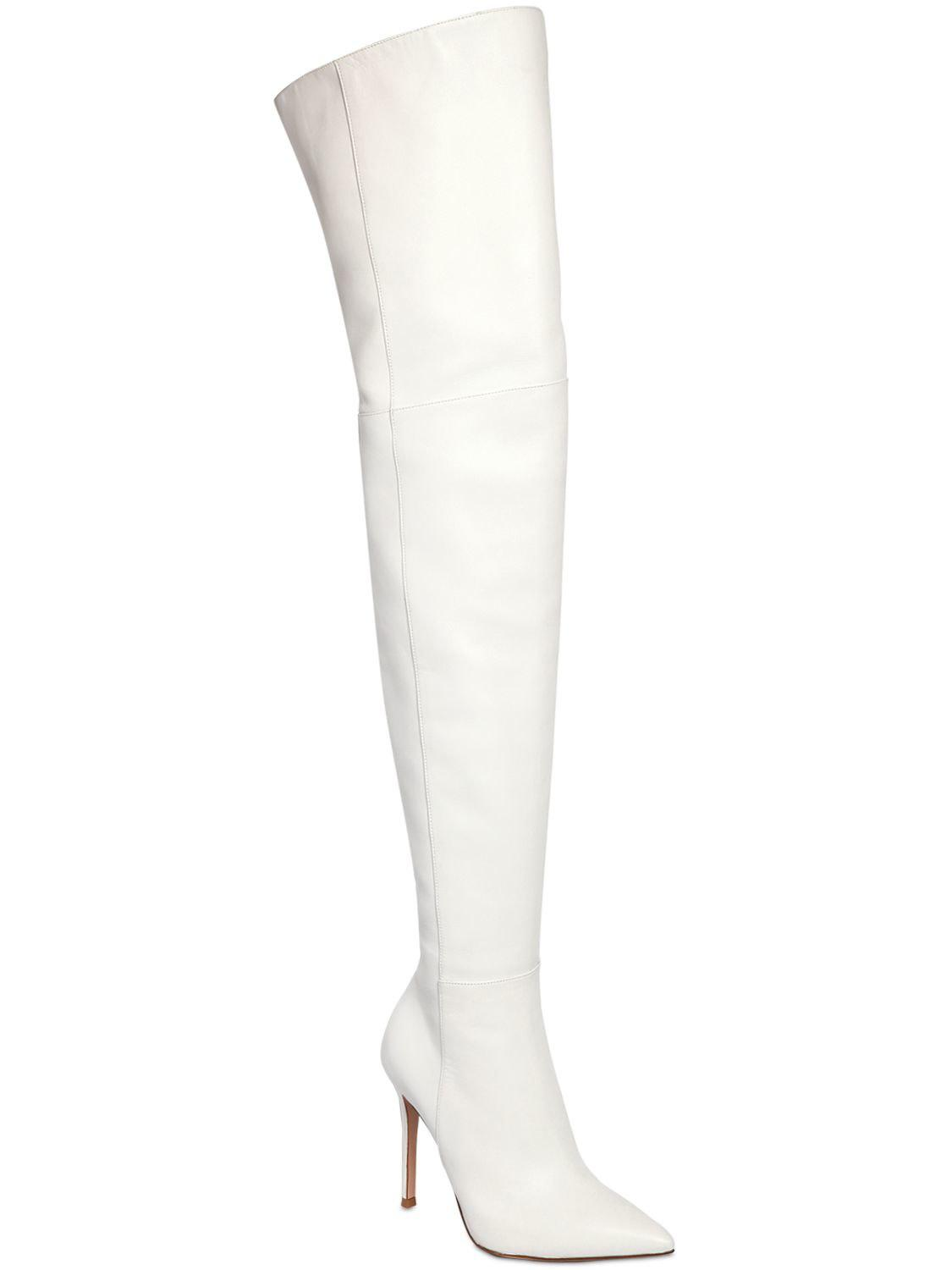 fb47b0ef0d6 Lyst - Gianvito Rossi 105mm Over The Knee Nappa Leather Boots in White