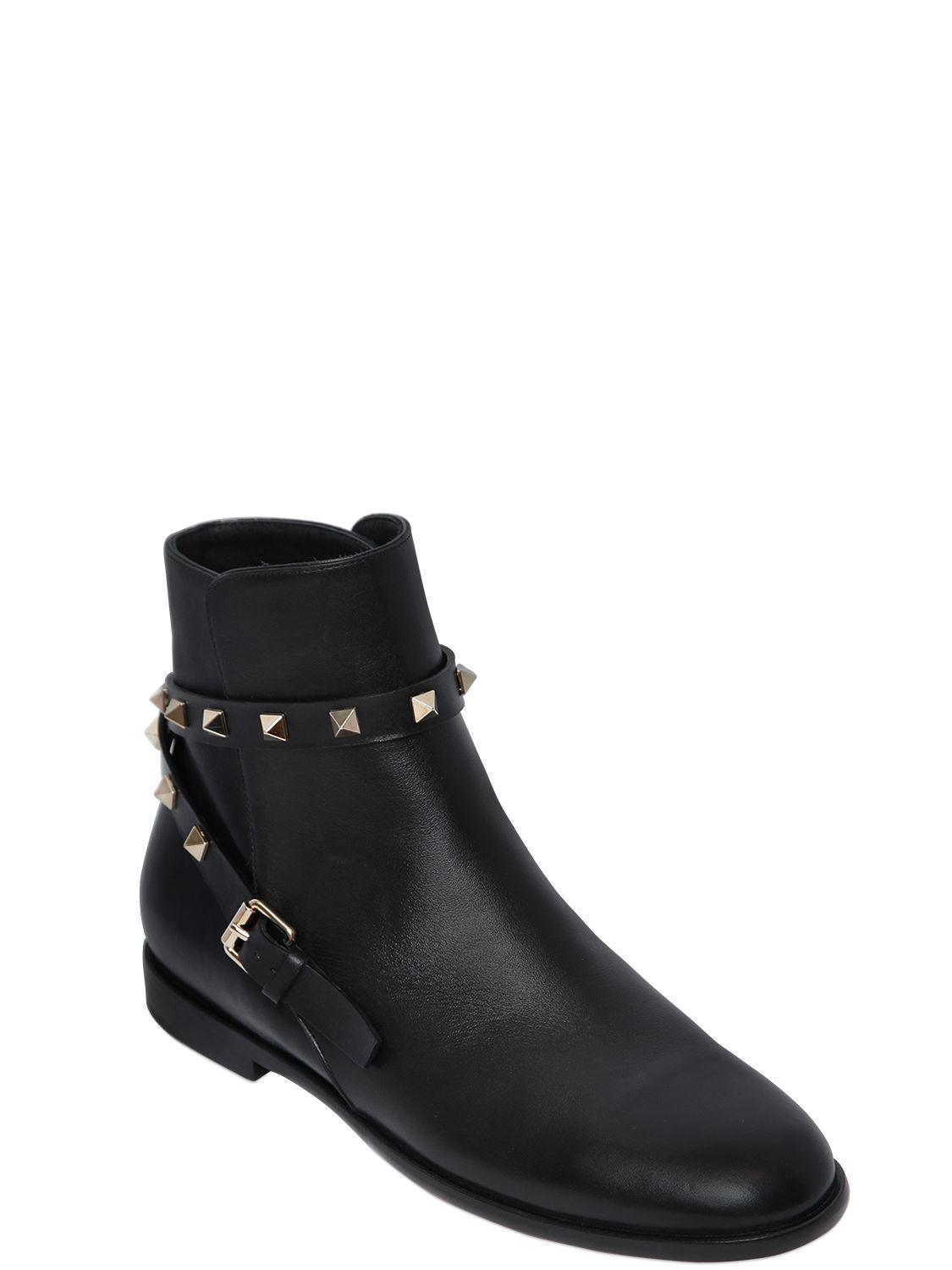 Valentino 20MM ROCKSTUD LEATHER ANKLE BOOTS BUbtPYC