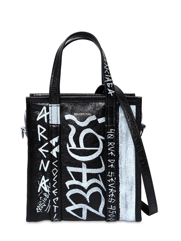 9c19c2c4cdc1 Balenciaga - Black Xs Bazar Graffiti Leather Tote Bag - Lyst. View  fullscreen