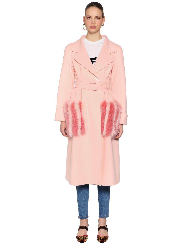 Lyst - Manteau En Laine Avec Poches En Fourrure Fendi en coloris Rose 136f1e564ce