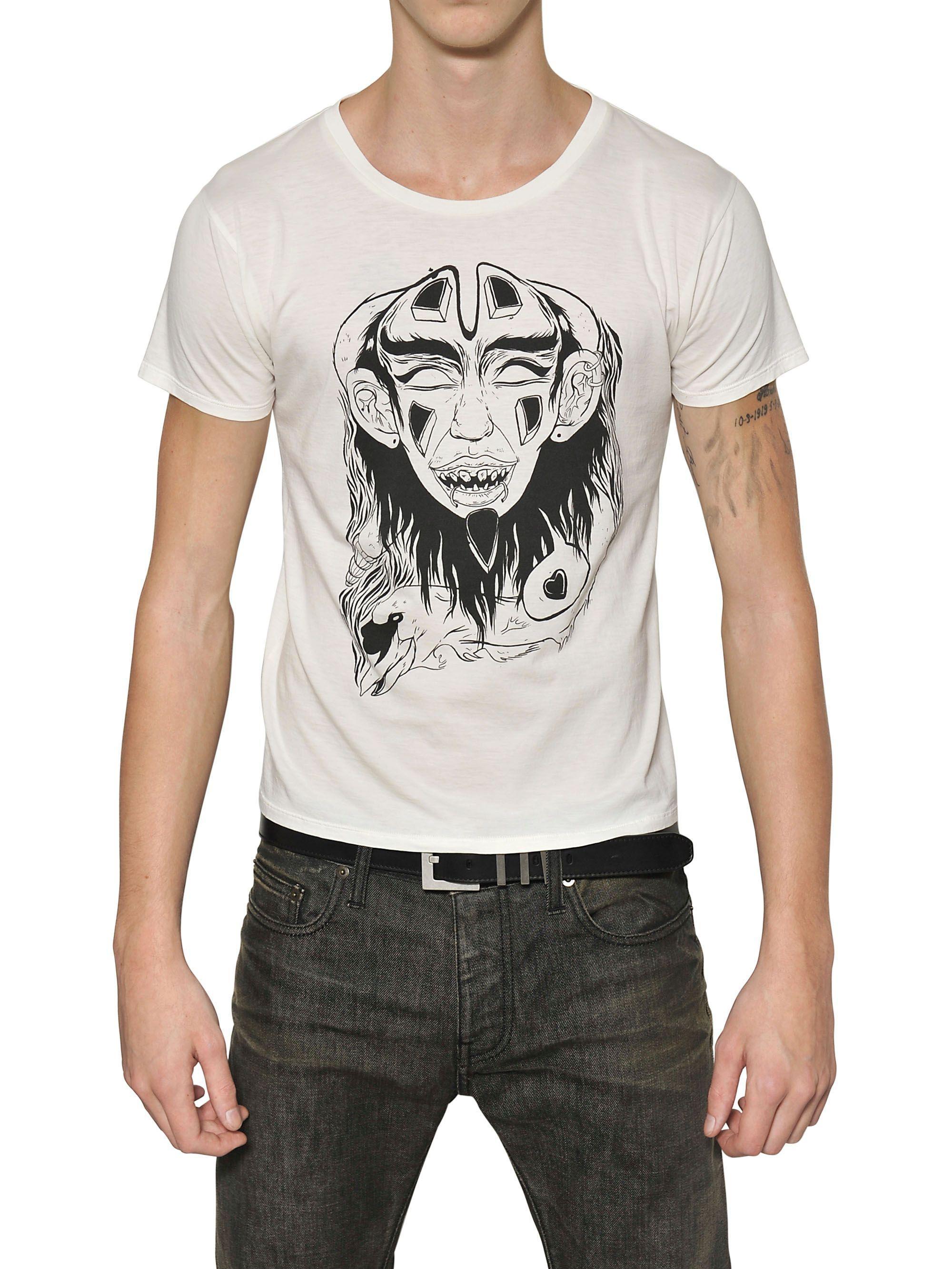 lyst saint laurent grimes 3 mask cotton jersey t shirt. Black Bedroom Furniture Sets. Home Design Ideas