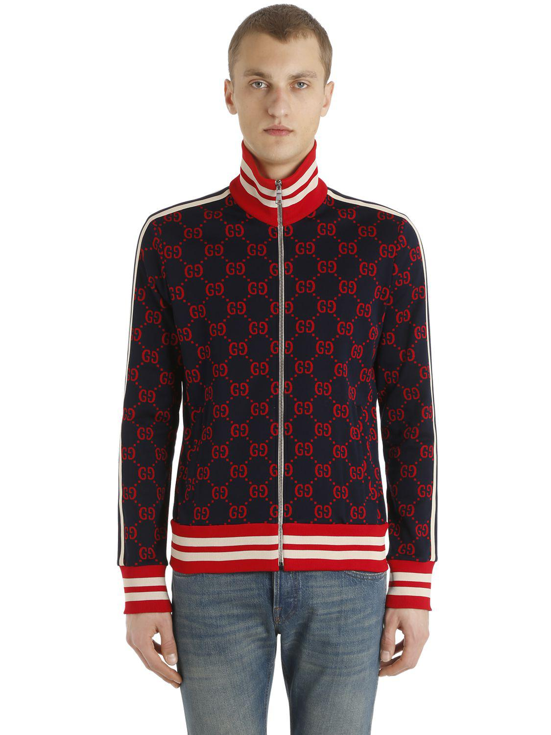 0fa0c1fa7 Lyst - Gucci Gg Zipped Jacquard Track Jacket in Blue for Men