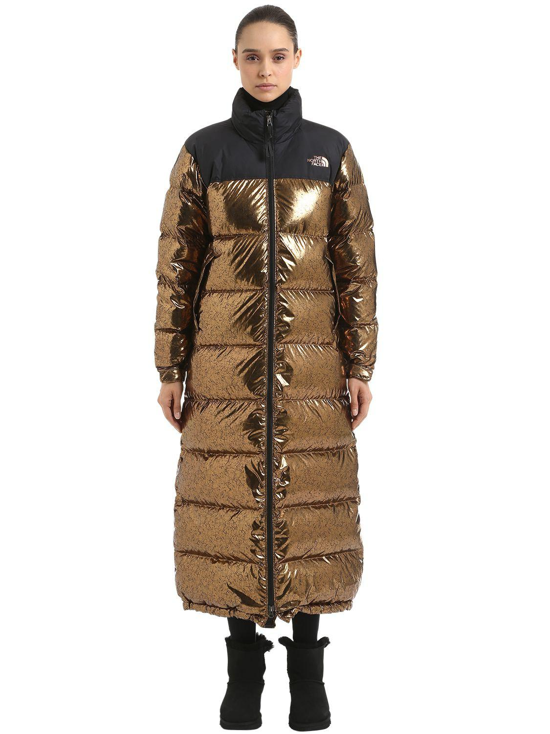 c04425bce93cf The North Face Nuptse Duster Long Down Jacket in Metallic - Lyst