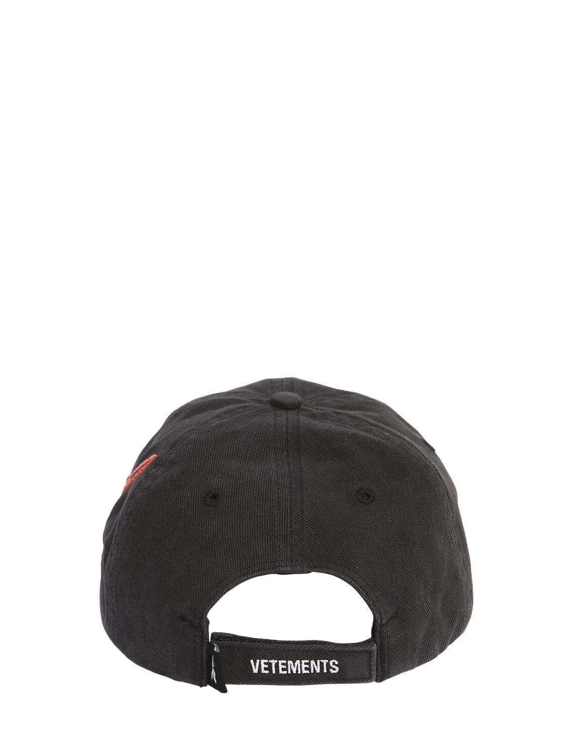 57c9164f6 Vetements X Reebok Embroidered Baseball Cap in Black - Lyst