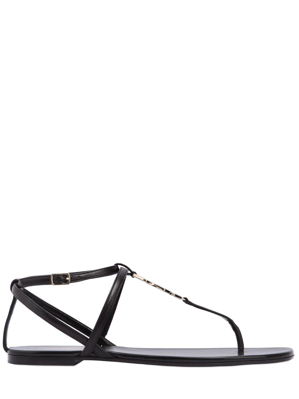 Saint Laurent 10mm Nu Pieds Logo Leather Sandals In Black