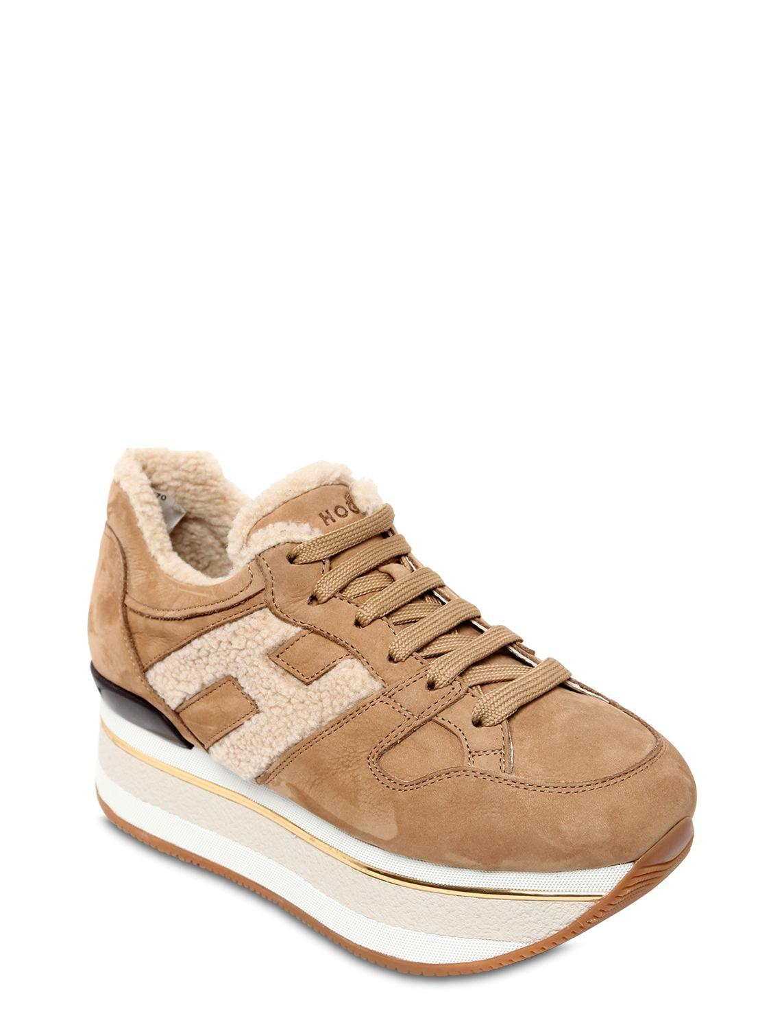 Hogan 70mm Maxi 222 Suede & Shearling Sneakers in Beige (Natural ...