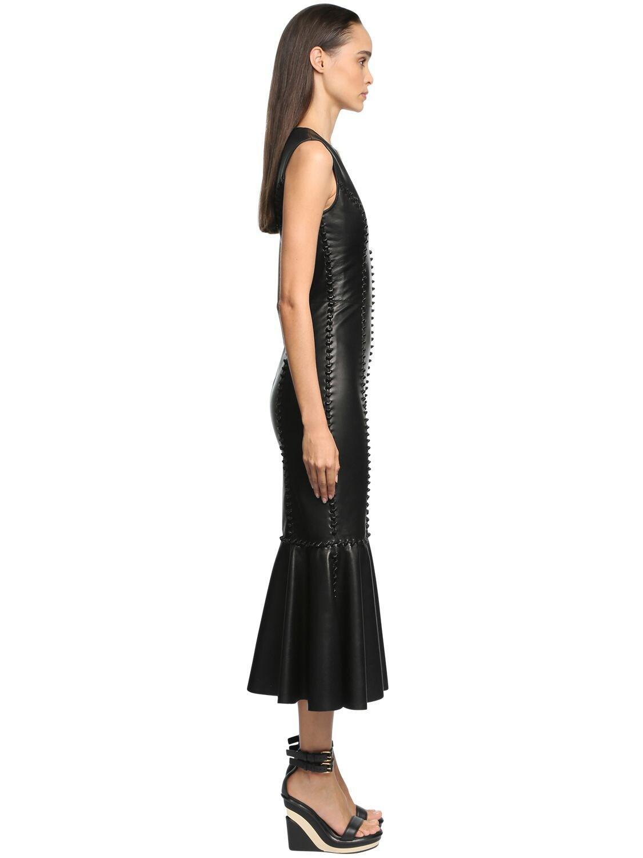 Vestido Midi De Piel Con Lazos Alexander McQueen de Cuero de color Negro