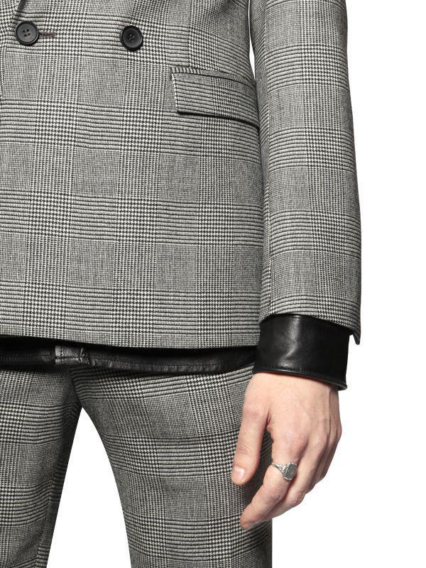 The Kooples Prince Of Wales Cool Wool Jacket in White/Black (Black) for Men