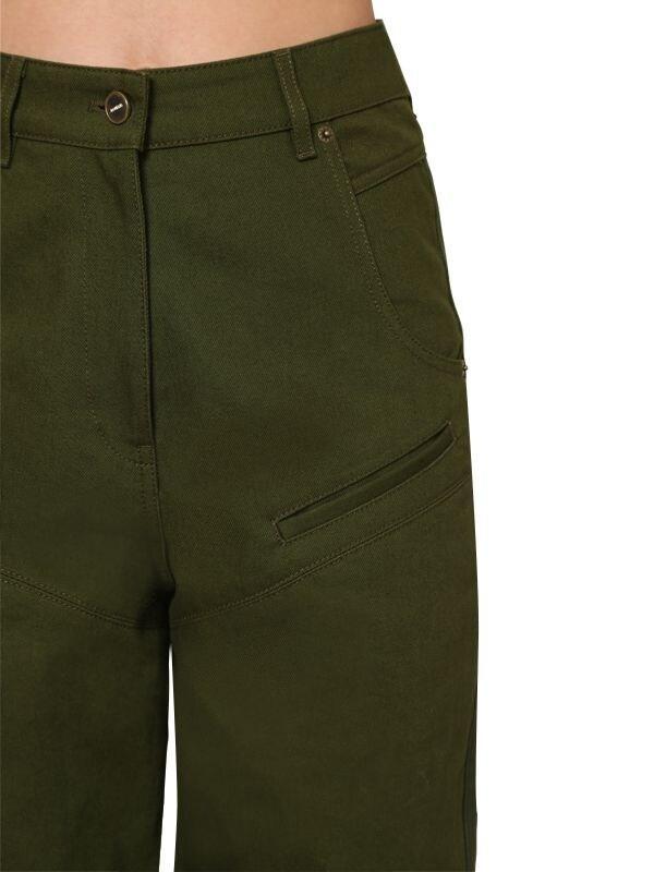 Pantalones De Algodón Denim Con Cintura Alta Jacquemus de color Verde