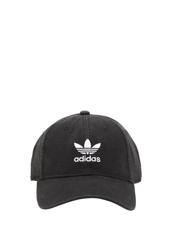 798429aa199 Lyst - adidas Originals Adicolor Washed Cotton Baseball Hat in Black