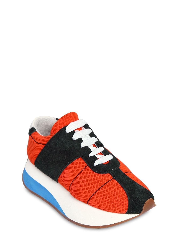 Marni 40mm Suede & Mesh Platform Sneakers in Orange/Green (Blue)