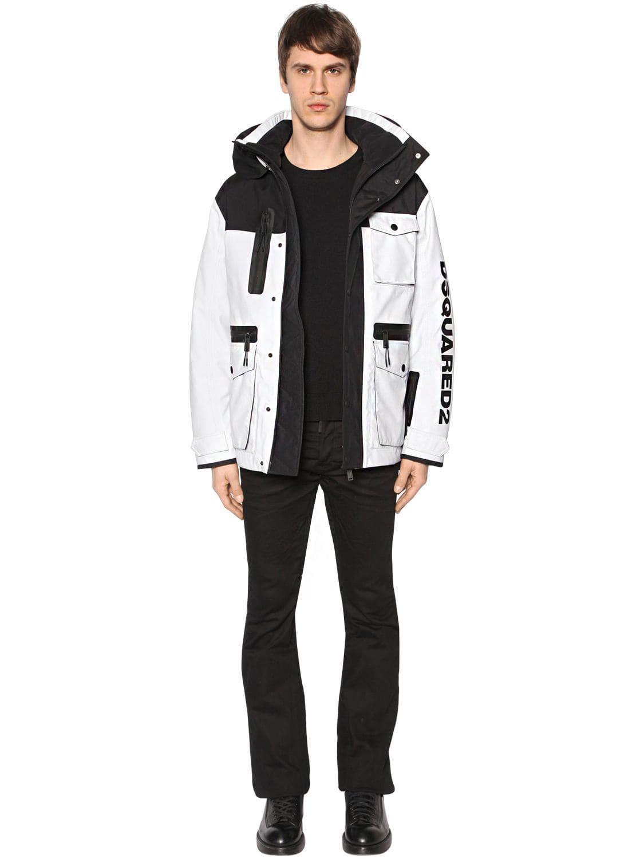 DSquared² Synthetic Hooded Nylon Bomber Jacket in White,Black (Black) for Men