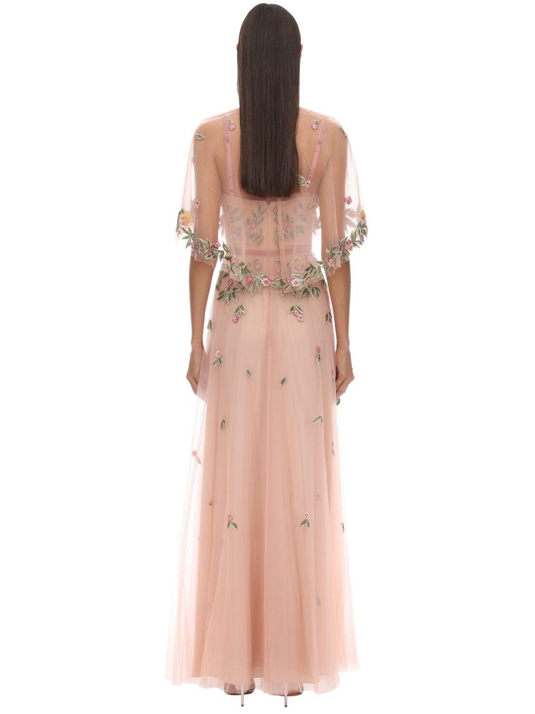 Vestido Largo De Tul Bordado Con Capa Marchesa notte de Tul de color Rosa