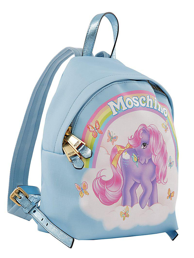Moschino Little Pony Printed Backpack in Light Blue (Blue)