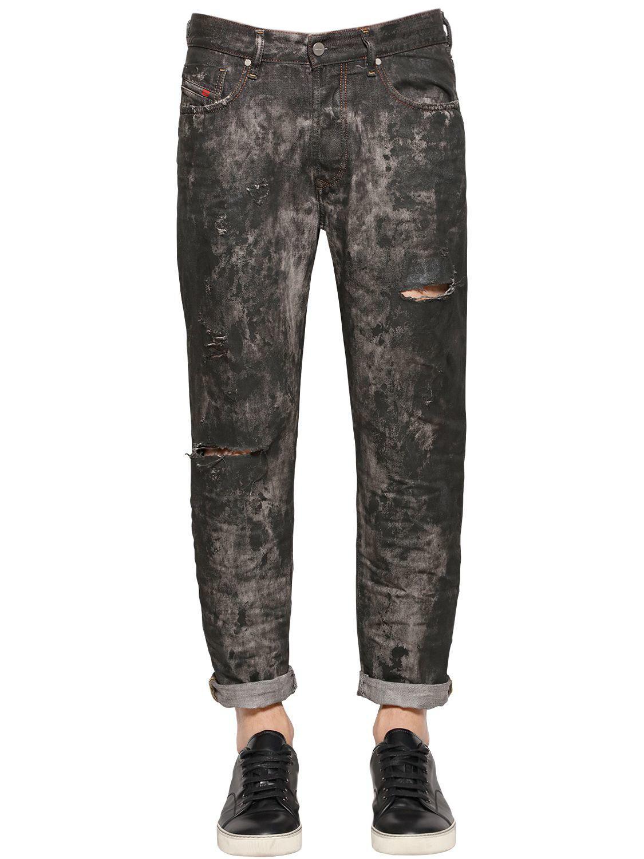 Diesel mens black 16 5cm mharki slim coated denim jeans