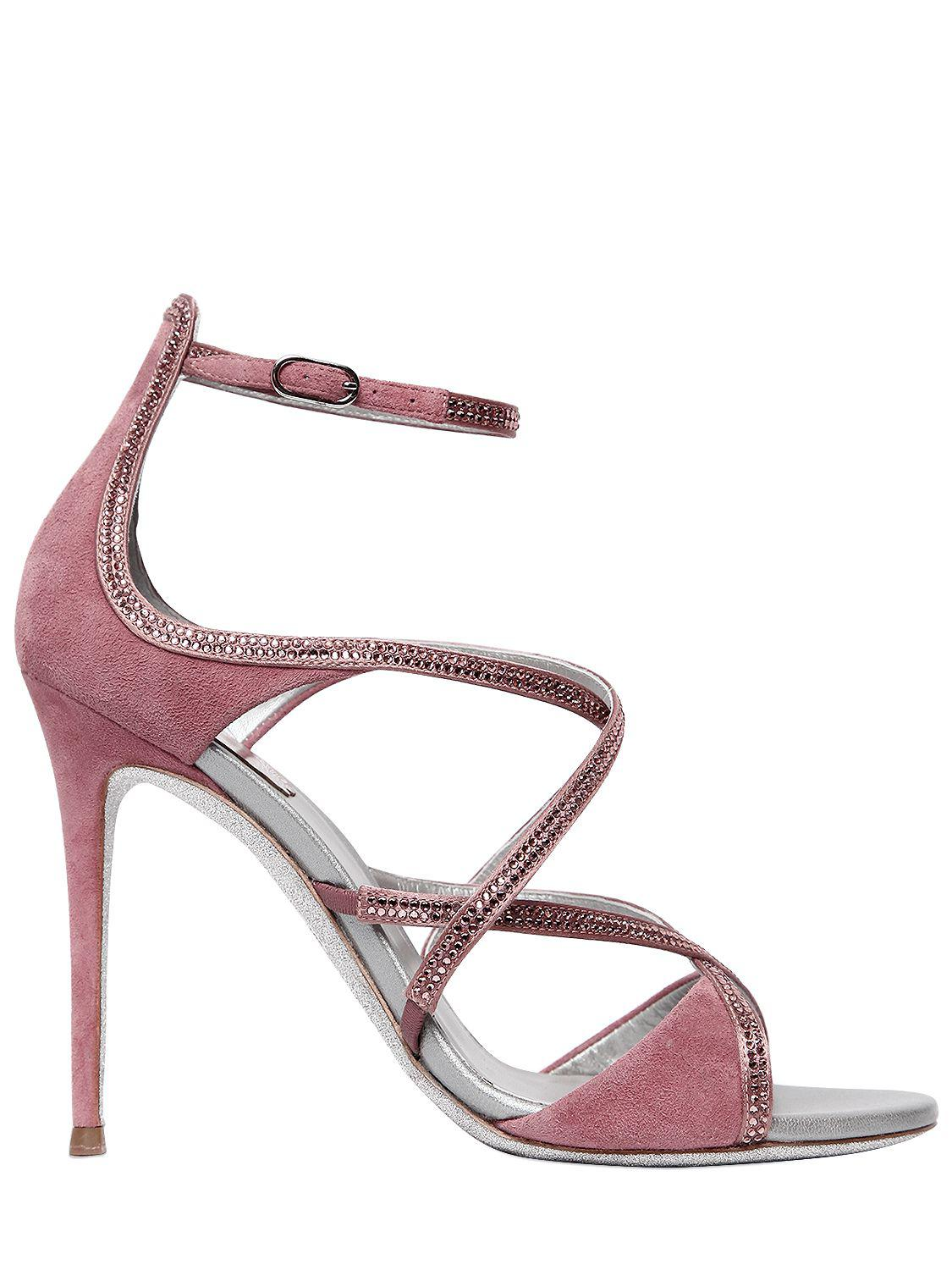 Offer Sale Women Shoes Ren Caovilla 105mm Suede Cage Sandals w/ Crystals Pink