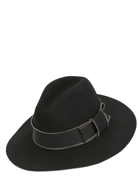 Lyst Karl Lagerfeld Zipped Wool Felt Wide Brim Hat In Black