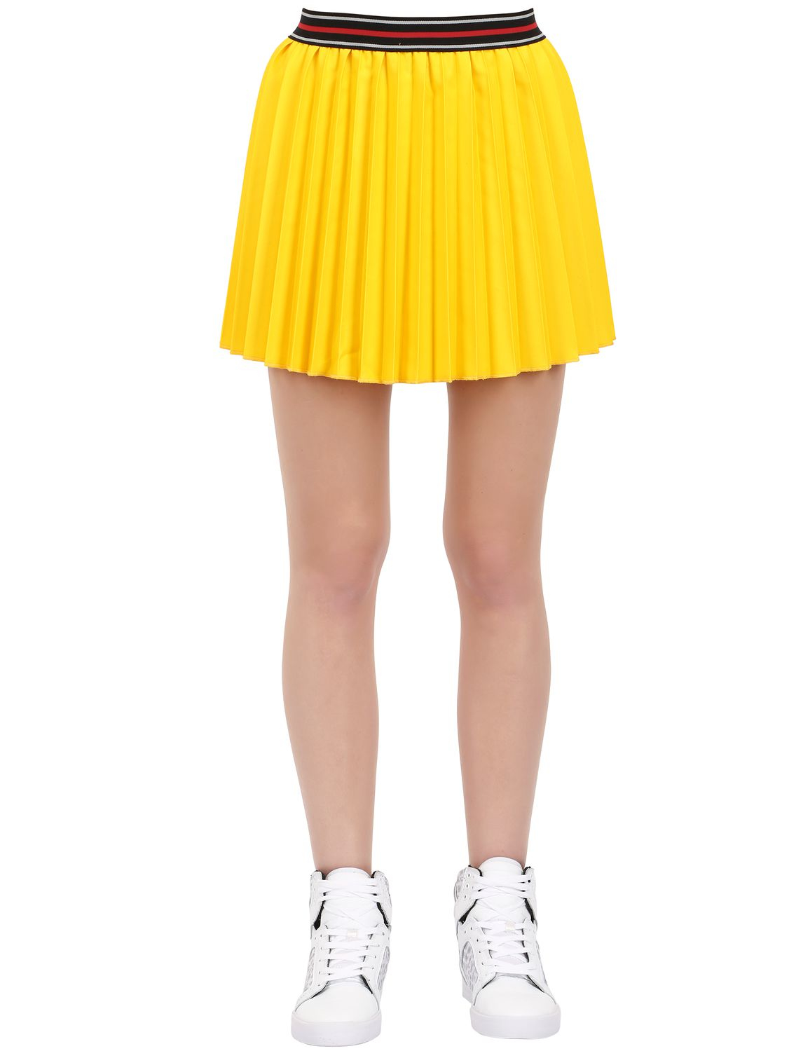 k pleated cotton blend skirt in yellow lyst