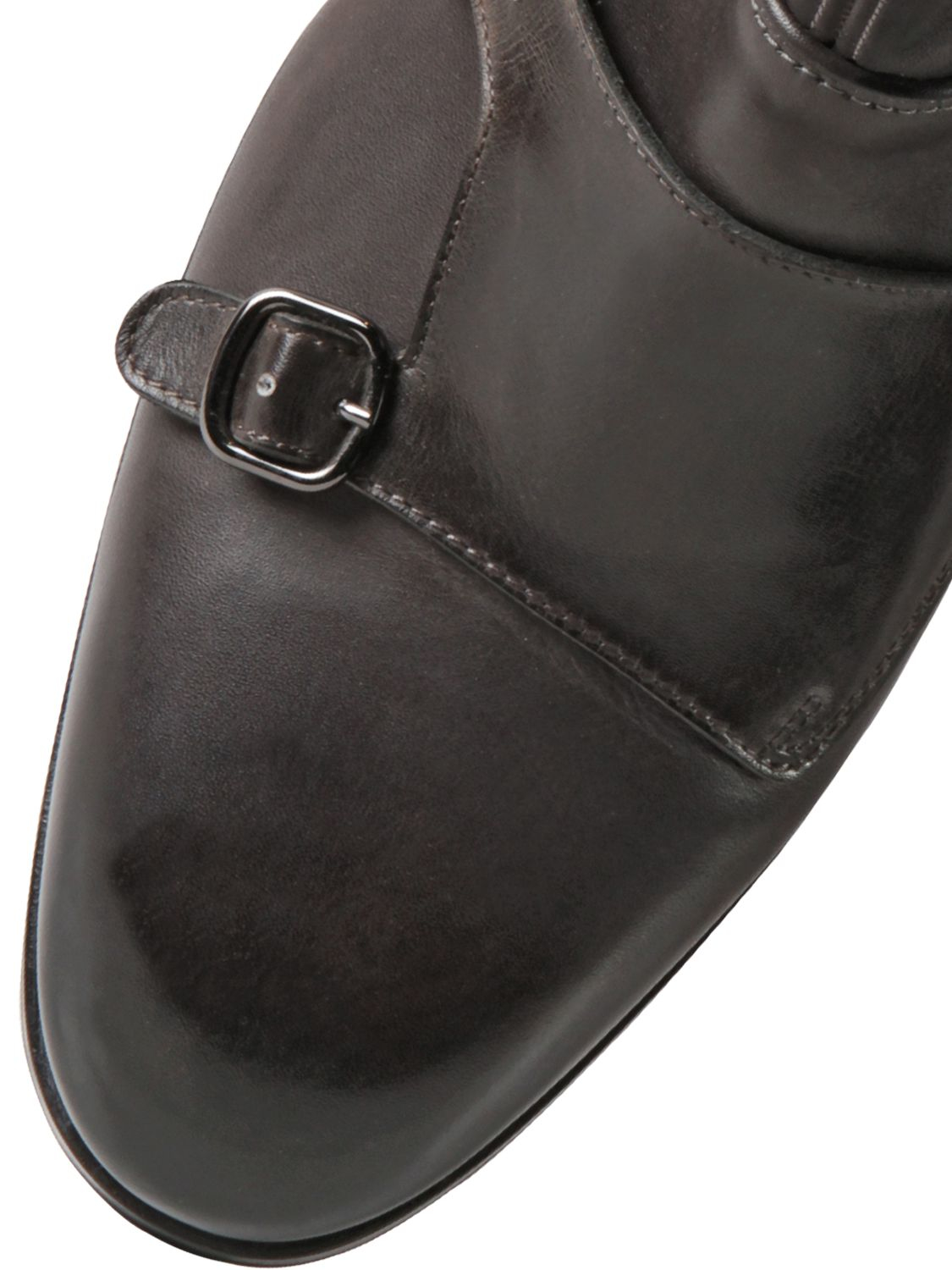 Lyst Santoni Leather Monk Strap Ankle Boots In Gray For Men