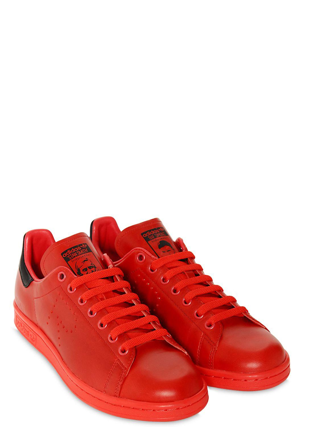 lyst adidas by raf simons sneakers stan smith in pelle in red for men. Black Bedroom Furniture Sets. Home Design Ideas