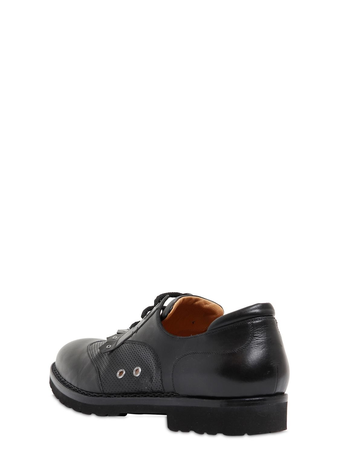 A.Testoni Perforated Leather Oxford Lace-up Shoes in Black for Men